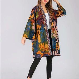 Sweaters - Graphic print woman's open front kimono Boho